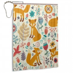 Cute Foxes Ornate Flowers Shower Curtain , Shower Bathroom Curtain 55x72 Inch Waterproof Fabric with Hooks , Wildly used in bathroom and hotel etc.