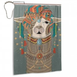 Colorful Headwear Llama Shower Curtain , Shower Bathroom Curtain 55x72 Inch Waterproof Fabric with Hooks , Wildly used in bathroom and hotel etc.