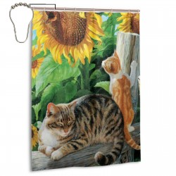 Cat Sunflower Shower Curtain , Shower Bathroom Curtain 55x72 Inch Waterproof Fabric with Hooks , Wildly used in bathroom and hotel etc.