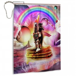 Cat Riding Llama With Pancakes Milkshake Shower Curtain , Shower Bathroom Curtain 55x72 Inch Waterproof Fabric with Hooks , Wildly used in bathroom and hotel etc.