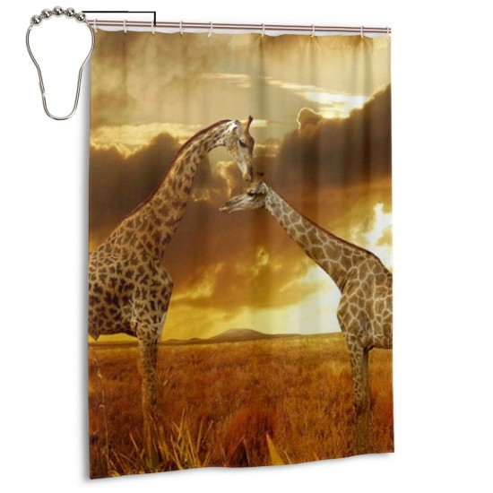 African Animals Giraffe Shower Curtain , Shower Bathroom Curtain 55x72 Inch Waterproof Fabric with Hooks , Wildly used in bathroom and hotel etc.
