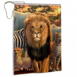 Afriaca Animals Shower Curtain , Shower Bathroom Curtain 55x72 Inch Waterproof Fabric with Hooks , Wildly used in bathroom and hotel etc.