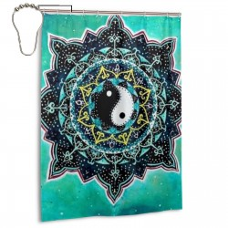 Yin Yang Shower Curtain , Shower Bathroom Curtain 55x72 Inch Waterproof Fabric with Hooks , Wildly used in bathroom and hotel etc.