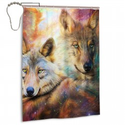 Wolf Shower Curtain , Shower Bathroom Curtain 55x72 Inch Waterproof Fabric with Hooks , Wildly used in bathroom and hotel etc.