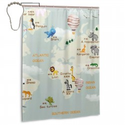World Map Shower Curtain , Shower Bathroom Curtain 55x72 Inch Waterproof Fabric with Hooks , Wildly used in bathroom and hotel etc.