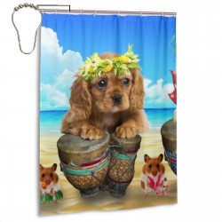 Summer Puppy Wallpaper Shower Curtain , Shower Bathroom Curtain 55x72 Inch Waterproof Fabric with Hooks , Wildly used in bathroom and hotel etc.