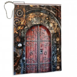 Steampunk Door Shower Curtain , Shower Bathroom Curtain 55x72 Inch Waterproof Fabric with Hooks , Wildly used in bathroom and hotel etc.
