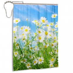 Spring Daisy Flower Shower Curtain , Shower Bathroom Curtain 55x72 Inch Waterproof Fabric with Hooks , Wildly used in bathroom and hotel etc.