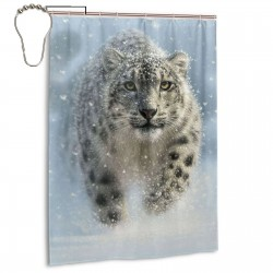 Snow Leopard Shower Curtain , Shower Bathroom Curtain 55x72 Inch Waterproof Fabric with Hooks , Wildly used in bathroom and hotel etc.