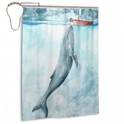 Sea Oil Painting Whale Shower Curtain , Shower Bathroom Curtain 55x72 Inch Waterproof Fabric with Hooks , Wildly used in bathroom and hotel etc.