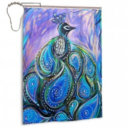 Oil Painting Peacock Shower Curtain , Shower Bathroom Curtain 55x72 Inch Waterproof Fabric with Hooks , Wildly used in bathroom and hotel etc.
