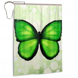 Green Butterfly Shower Curtain , Shower Bathroom Curtain 55x72 Inch Waterproof Fabric with Hooks , Wildly used in bathroom and hotel etc.