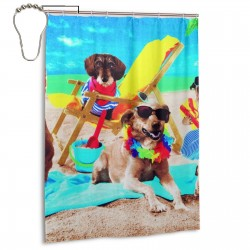 Dohler Dogs At The Bahia Beach Shower Curtain , Shower Bathroom Curtain 55x72 Inch Waterproof Fabric with Hooks , Wildly used in bathroom and hotel etc.