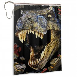 Dinosaur Roar Shower Curtain , Shower Bathroom Curtain 55x72 Inch Waterproof Fabric with Hooks , Wildly used in bathroom and hotel etc.