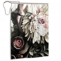 Dark Floral Black Shower Curtain , Shower Bathroom Curtain 55x72 Inch Waterproof Fabric with Hooks , Wildly used in bathroom and hotel etc.