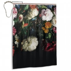 Dark Color Vintage Floral.jpeg Shower Curtain , Shower Bathroom Curtain 55x72 Inch Waterproof Fabric with Hooks , Wildly used in bathroom and hotel etc.