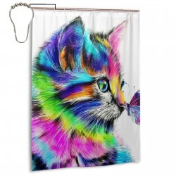 Colorful Cat Pattern Shower Curtain , Shower Bathroom Curtain 55x72 Inch Waterproof Fabric with Hooks , Wildly used in bathroom and hotel etc.