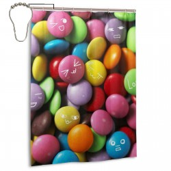 Color Candy Funny Expression Shower Curtain , Shower Bathroom Curtain 55x72 Inch Waterproof Fabric with Hooks , Wildly used in bathroom and hotel etc.