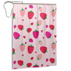 Color Strawberry Shower Curtain , Shower Bathroom Curtain 55x72 Inch Waterproof Fabric with Hooks , Wildly used in bathroom and hotel etc.