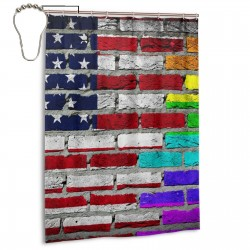 American Gay Flag Shower Curtain , Shower Bathroom Curtain 55x72 Inch Waterproof Fabric with Hooks , Wildly used in bathroom and hotel etc.