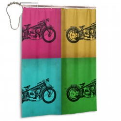 Vintage Bike Pop Art Shower Curtain , Shower Bathroom Curtain 55x72 Inch Waterproof Fabric with Hooks , Wildly used in bathroom and hotel etc.