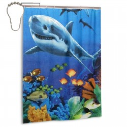 Sharks Colorful Reef Shower Curtain , Shower Bathroom Curtain 55x72 Inch Waterproof Fabric with Hooks , Wildly used in bathroom and hotel etc.