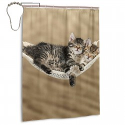 Cute Tabby Kittens Sleeping In A Hammock Shower Curtain , Shower Bathroom Curtain 55x72 Inch Waterproof Fabric with Hooks , Wildly used in bathroom and hotel etc.