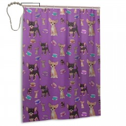 Cute Teacup Chihuahuas Beauty Shower Curtain , Shower Bathroom Curtain 55x72 Inch Waterproof Fabric with Hooks , Wildly used in bathroom and hotel etc.