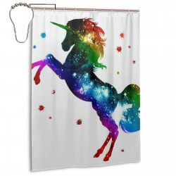 Cute Space Unicorn Shower Curtain , Shower Bathroom Curtain 55x72 Inch Waterproof Fabric with Hooks , Wildly used in bathroom and hotel etc.