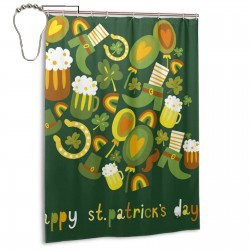 Cute St Patricks Day Cats Shower Curtain , Shower Bathroom Curtain 55x72 Inch Waterproof Fabric with Hooks , Wildly used in bathroom and hotel etc.
