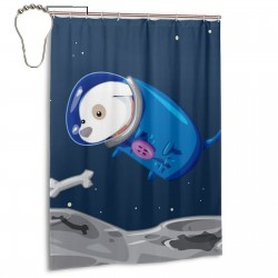Cute Space Dog Shower Curtain , Shower Bathroom Curtain 55x72 Inch Waterproof Fabric with Hooks , Wildly used in bathroom and hotel etc.