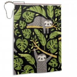 Cute Sloths And Tropical Palm Leaves Shower Curtain , Shower Bathroom Curtain 55x72 Inch Waterproof Fabric with Hooks , Wildly used in bathroom and hotel etc.