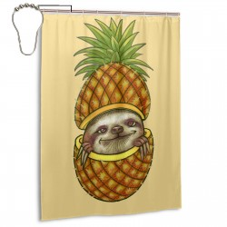 Cute Sloth Pineapple Shower Curtain , Shower Bathroom Curtain 55x72 Inch Waterproof Fabric with Hooks , Wildly used in bathroom and hotel etc.