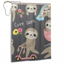 Cute Sloth Floral Rainbow Tree Shower Curtain , Shower Bathroom Curtain 55x72 Inch Waterproof Fabric with Hooks , Wildly used in bathroom and hotel etc.