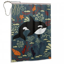 Cute Sea Fish Shower Curtain , Shower Bathroom Curtain 55x72 Inch Waterproof Fabric with Hooks , Wildly used in bathroom and hotel etc.
