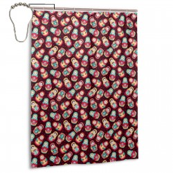 Cute Russian Dolls Matryoshka Shower Curtain , Shower Bathroom Curtain 55x72 Inch Waterproof Fabric with Hooks , Wildly used in bathroom and hotel etc.