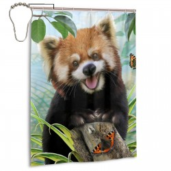 Cute Red Panda Happy Shower Curtain , Shower Bathroom Curtain 55x72 Inch Waterproof Fabric with Hooks , Wildly used in bathroom and hotel etc.