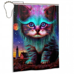 Cute Rainbow Galaxy Kitten (Cat) Shower Curtain , Shower Bathroom Curtain 55x72 Inch Waterproof Fabric with Hooks , Wildly used in bathroom and hotel etc.