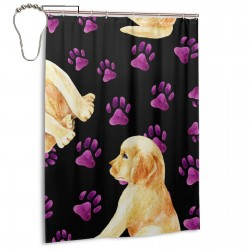 Cute Puppies With Footprints Shower Curtain , Shower Bathroom Curtain 55x72 Inch Waterproof Fabric with Hooks , Wildly used in bathroom and hotel etc.