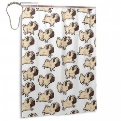 Cute Pugs Pug Dogs Shower Curtain , Shower Bathroom Curtain 55x72 Inch Waterproof Fabric with Hooks , Wildly used in bathroom and hotel etc.