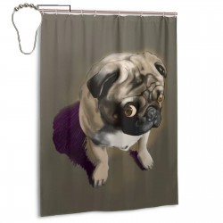 Cute Pug Shower Curtain , Shower Bathroom Curtain 55x72 Inch Waterproof Fabric with Hooks , Wildly used in bathroom and hotel etc.