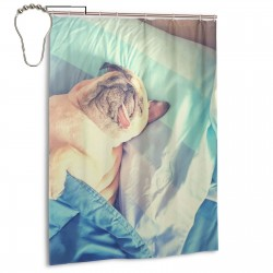 Cute Pug Dog Sleep Rest In The Bed Shower Curtain , Shower Bathroom Curtain 55x72 Inch Waterproof Fabric with Hooks , Wildly used in bathroom and hotel etc.