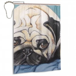 Cute Pug Dog Painting Shower Curtain , Shower Bathroom Curtain 55x72 Inch Waterproof Fabric with Hooks , Wildly used in bathroom and hotel etc.