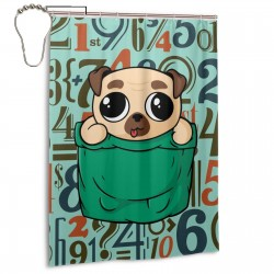 Cute Pocket Pug Puppy Shower Curtain , Shower Bathroom Curtain 55x72 Inch Waterproof Fabric with Hooks , Wildly used in bathroom and hotel etc.