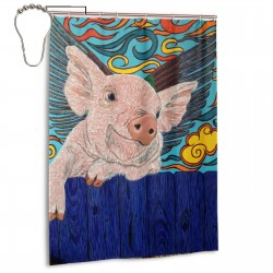 Cute Pig With Wings Art Shower Curtain , Shower Bathroom Curtain 55x72 Inch Waterproof Fabric with Hooks , Wildly used in bathroom and hotel etc.