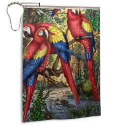 Cute Parrot Bird Artwork Shower Curtain , Shower Bathroom Curtain 55x72 Inch Waterproof Fabric with Hooks , Wildly used in bathroom and hotel etc.