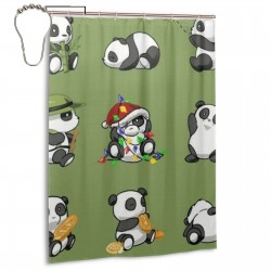 Cute Panda Shower Curtain , Shower Bathroom Curtain 55x72 Inch Waterproof Fabric with Hooks , Wildly used in bathroom and hotel etc.