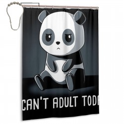 Cute Panda I Can't Adult Today Design Shower Curtain , Shower Bathroom Curtain 55x72 Inch Waterproof Fabric with Hooks , Wildly used in bathroom and hotel etc.