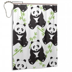 Cute Panda Bamboo Tree Shower Curtain , Shower Bathroom Curtain 55x72 Inch Waterproof Fabric with Hooks , Wildly used in bathroom and hotel etc.